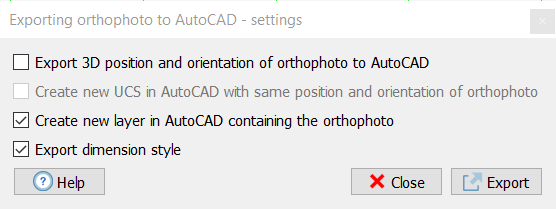 Exporting orthophotos to AutoCAD